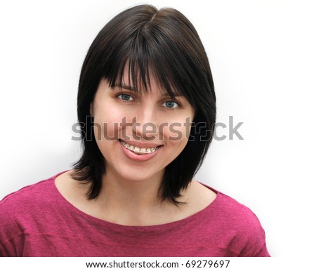 Portrait of young woman with brackets - stock photo