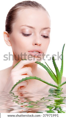 Portrait of young woman with health skin - stock photo