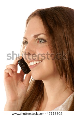 Portrait of young woman with mobile phone - stock photo