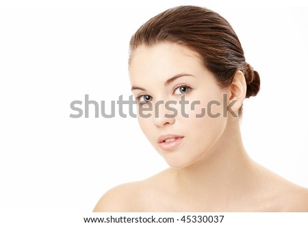 Portrait of young woman with the beautiful face, isolated on a white background - stock photo