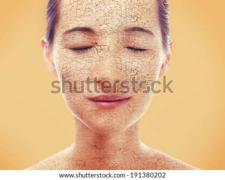 Portrait of young woman with very dry skin - stock photo