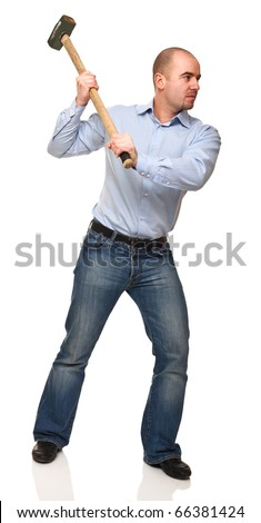 portrait of young worker with huge hammer on white