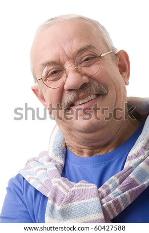 Portrait on a white background, smiling elderly man in glasses - stock photo