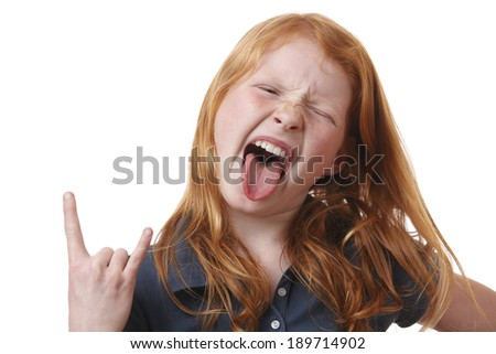 Portrait on an angry young girl on white background - stock photo