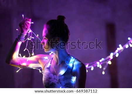 Portrait photography at night using the string of lights - June 2017 in United Arab Emirates