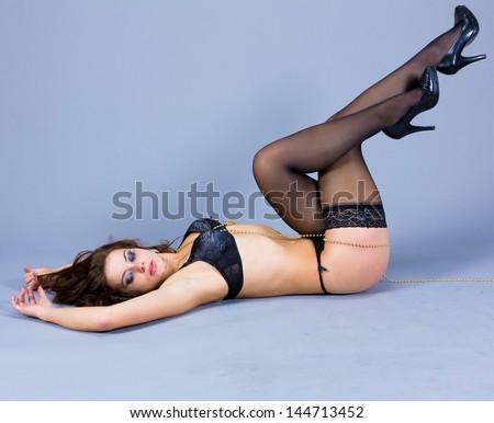 Portrait Posing Woman - stock photo