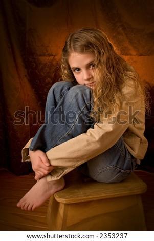 portrait pre teen - stock photo