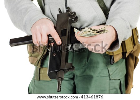 Portrait rebel or private military contractor holding black gun. war, army, weapon, technology and people concept. Image on a white background. - stock photo