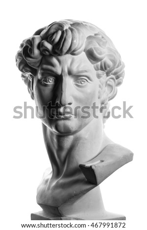 Portrait sculpture of Michelangelo's David isolated over a white background