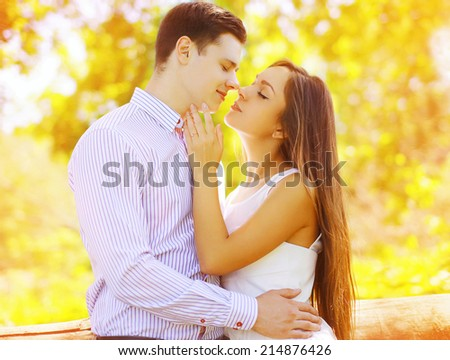 Portrait sensual sweet couple kissing summer, date, love, relationships - concept - stock photo