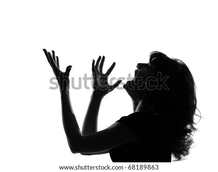 portrait silhouette in shadow of a young woman screaming anger  in studio on white background isolated - stock photo
