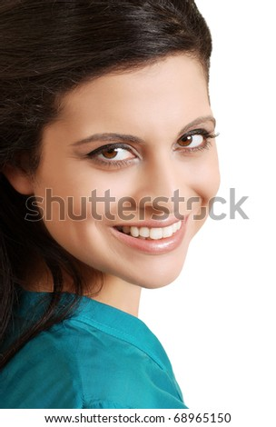 portrait smiling Hispanic woman with blue top - stock photo