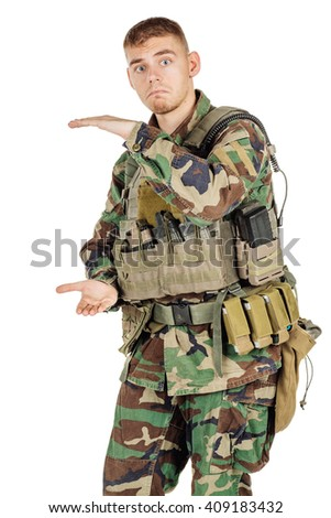 Portrait soldier or private military contractor making his hands the size. war, army, weapon, technology and people concept. Image on a black background. - stock photo