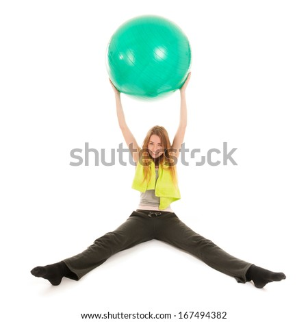 Portrait sport woman with ball for gymnastics isolated over white background