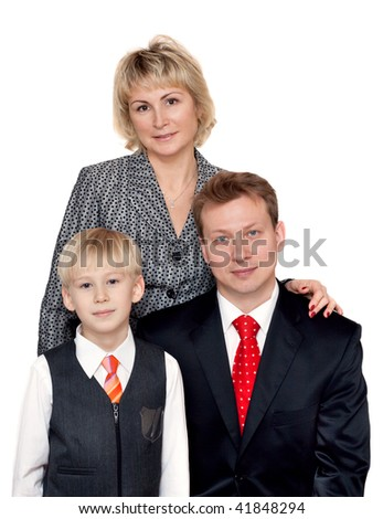 Portrait to families, husband, wife and son on white background