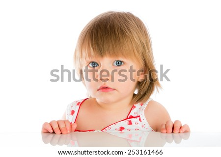 Portrait two years old baby girl on a white background - stock photo