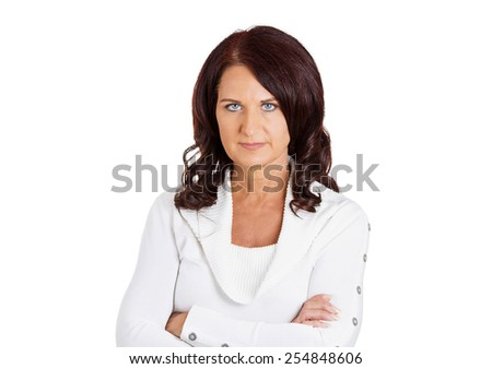 Portrait unhappy upset serious middle aged woman with arms crossed isolated on white background  - stock photo