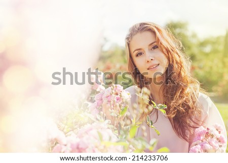 Portrait with roses - stock photo
