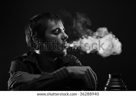 Portrait with smoke cloud - stock photo