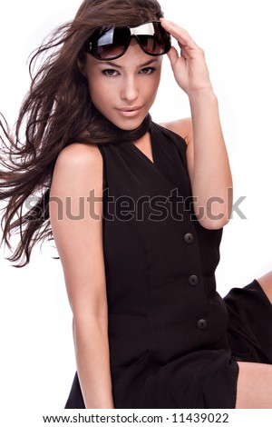 portrait with sunglasses and summer dress - stock photo