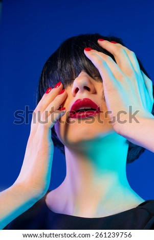 Portrait with Trendy Hair style, Make up. Manicure.  - stock photo