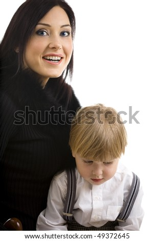 Portrait with Young mother and her son on white