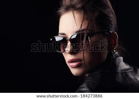 Portrait woman in jacket. - stock photo