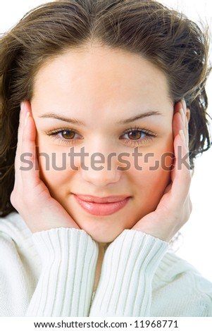 portrait woman on white background
