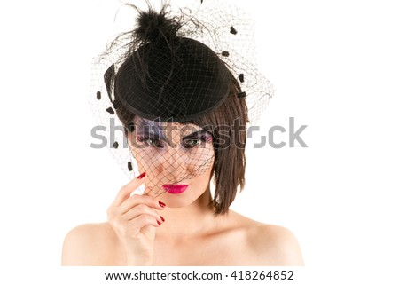 portrait woman with bright makeup with veil