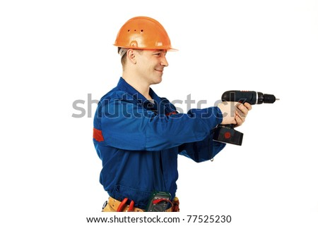 Portrait work man in work wear with instrument and drill against white