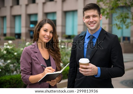 Portrait young attractive business legal professionals smiling happy proud confident vibrant - stock photo