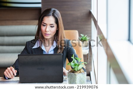 Portrait young attractive businesswoman working. - stock photo