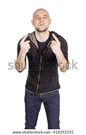 portrait young bald man explaining something and gesturing with his hands. emotions, facial expressions, feelings, body language, signs. image on a white studio background. - stock photo