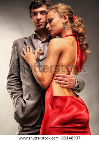 Portrait young beautiful couple - stock photo