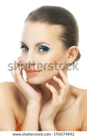 Portrait young beautiful joyful dark-haired woman, isolated on white background. - stock photo