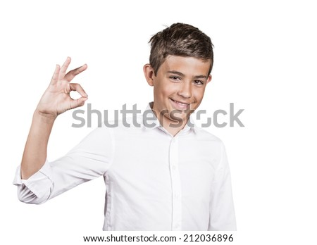 Portrait young happy man, teenager showing Ok sign, hand gesture, isolated on white background. Positive human emotions, facial expressions, nonverbal communication, body language, signs, symbols - stock photo