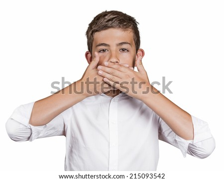 Portrait young man, student, boy, covering his mouth with hands won't talk. Speak no evil concept, isolated white background. Human emotions, face expressions, feelings, signs, surrounding perception