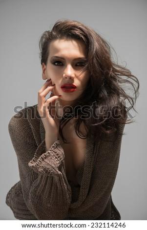 Portrait young woman , studio shot - stock photo