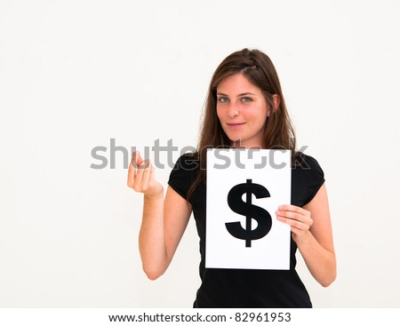 portrait young woman with board dollar mark - stock photo