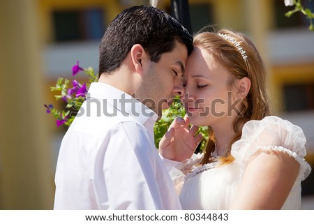 portraite of Young couple in love - stock photo