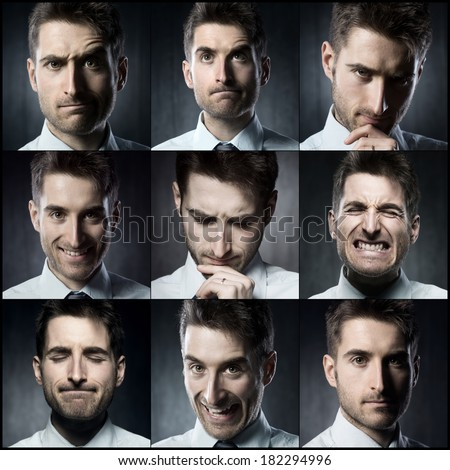 Portraits of a young businessman. Various images in a collage - stock photo