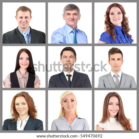 Portraits of business people on white background. Business training and strategy concept.