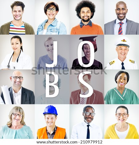 Portraits of DIverse People with Different Jobs - stock photo