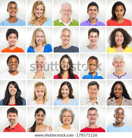 Portraits of Diverse World People - stock photo