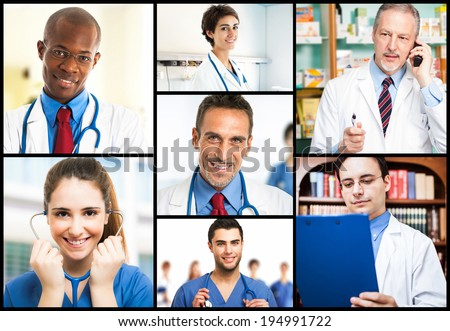 Portraits of doctors at work - stock photo