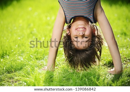 Portraits Happy Kids Playing Upside Down Stock Photo ...