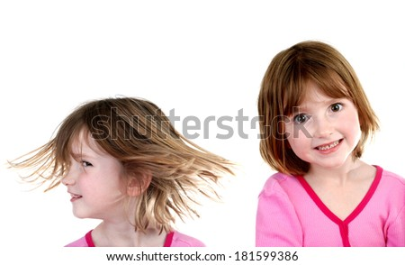 Portraits of little girl showing expressions isolated on white background - stock photo