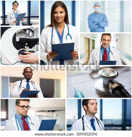 Portraits of medical people at work - stock photo