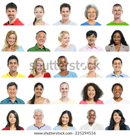 Portraits of multi-ethnical people smiling. - stock photo