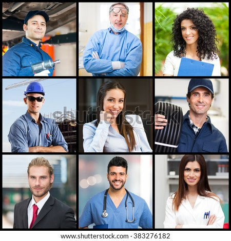 Portraits of people doing different jobs - stock photo